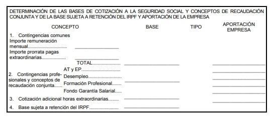 Determinación de la base de cotización a la Seguridad Social y Retención IRPF