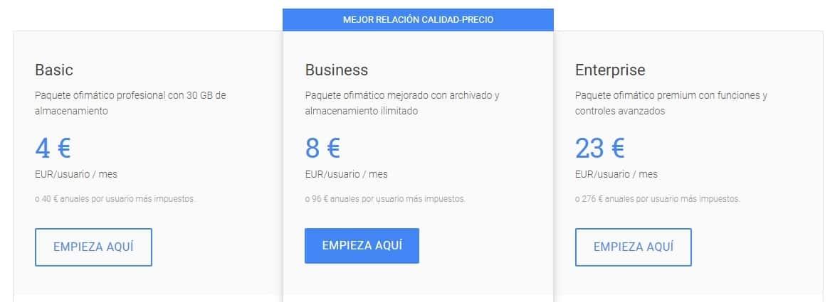 planes de precios Google Suite